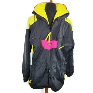 80s Vintage Anorak Black Neon Columbia Ski Jacket